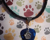 Paw Print Necklace, Animal Lover Guitar Pick Jewelry,Triangle Silver Bail, Custom Color & Size, Gift Pet Lover, Dog, Cat