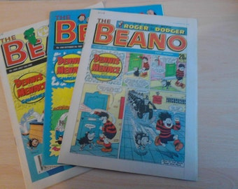 3x 80's/ 90's Randomly Selected Vintage Beano Comic Magazines  Plus FREE Gift Lucky Dip Gift Bag Books Paper Ephemera