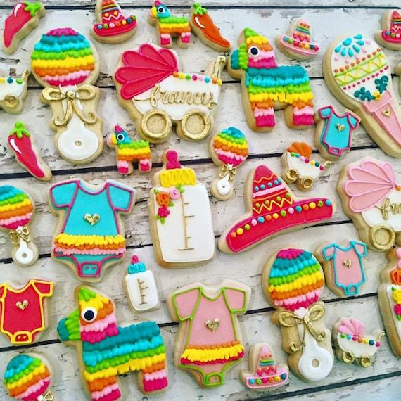 fiesta baby shower cookie set