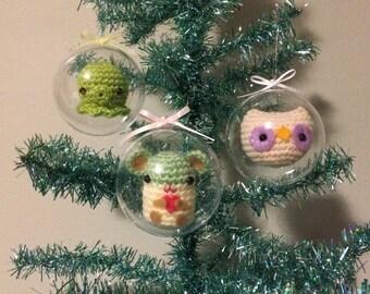Set of 3 Kawaii Amigurumi Suspended in Clear Globes, Amigurumi Ball Ornament Set!