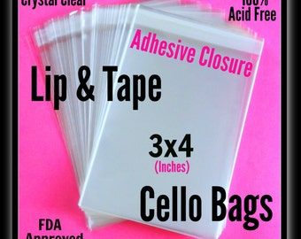 100 3x4 Lip & Tape Cello Bags ..  Clear Bags, Self Sealing, Cello Bags, Adhesive 3x4 Cello Bags, Small Adhesive Sleeves