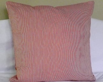 CLEARANCE Red White Striped 100% Cotton Pillow Cover for 16x16 Pillow Form Throw Pillow Toss Pillow Accent Pillow