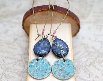 Stardust Navy Blue Jasper Earthy Drop & Hammered Patina Coin, Vintage Antiqued Brass, Gypsy Earrings, Gift For Her, Earrings