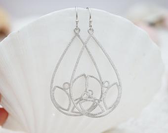 Trinity Leaf Chandelier, Teardrop Filigree, Bohemian Chic Earrings, Only one available Minimalist Hippie Gift for her, Earrings