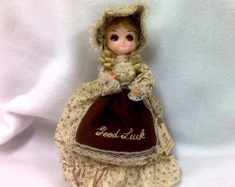 "Big Eyed Bradley Doll - ""Good Luck"" Vintage Collectible in Brown & Creams - 10"" Tall"
