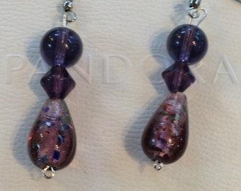 Beautiful Purple Beaded HandMade Dangle Earrings Teardrop SilverTone