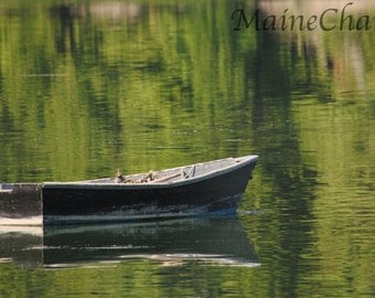 Boat on Peaceful Water, Maine Coast Photography, Nautical Art, Maine Ocean Photography
