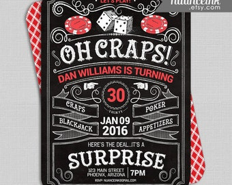 Poker Casino Craps Birthday Party Invitations, cards, printed or digital, 24 hr turnaround, blackjack, poker, roulette, dice, cards