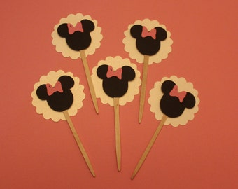 mickey or minnie mouse cup cake toppers