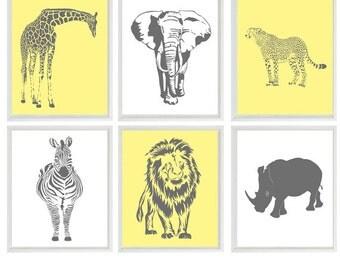 Safari Nursery Wall Art, Baby Boy Nursery, Neutral Nursery, Elephant, Giraffe, Lion, Cheetah, Zebra, Rhino, Safari Prints, Gray Yellow Decor