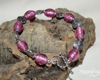 Purple foil glass bead bracelet with toggle clasp