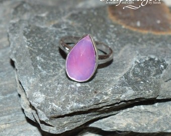 Faceted pink stone sterling silver ring, US size 6 UK size L