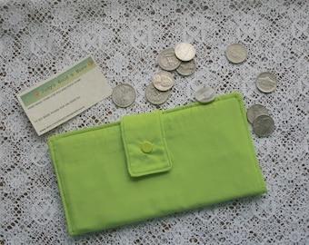 Bifold Cloth Wallet Womans Organizer Neon Green