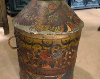 Vintage Mexican Nahua Folk Art Hand Painted Metal Milk Jug Vase Olinala Guerrero