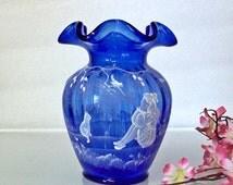 Small Fenton Cobalt Vase ~ Ruffled Rim ~ Mary Gregory Style Decoration
