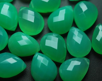 5 Matched pairs,Chrysoprase Chalcedony Faceted Pear Shape Briolettes 12x16mm