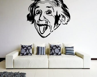 Vinyl Wall Decal Albert Einstein Sticking Out His Tongue / Crazy Funny Face Art Decor Sticker / Scientist Mural + Free Random Decal Gift!