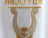 ReJOYce 100% White Linen Caftan Worship Garment with King David Harp Embroidery and Decorative Stitching