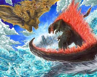 Godzilla King Ghidorah Mothra All Out Attack