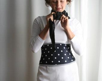 Blue and white polka dot underbust corset