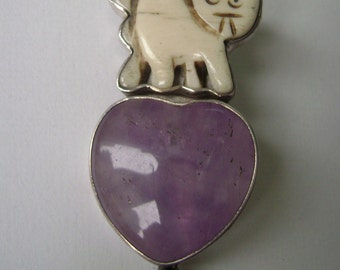 cat/heart pendant/brooch, signed the Dreamer