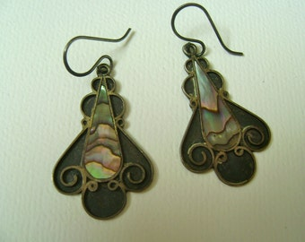 sterling and abalone, mexican earrings