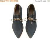 BOOTS SALE Chukka Boots, Nika, Dark Stone, Leather shoes, handmade, flats, Grey leather shoes, by Tamar Shalem on etsy
