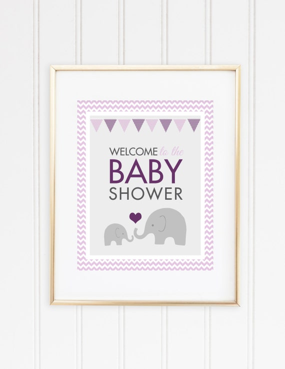sign girl baby shower elephant party decor purple elephant shower