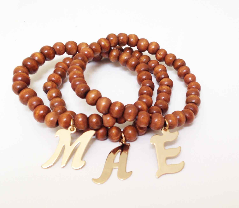 Carly Gold Initial Prayer Bead Bracelet