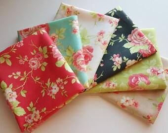 Moda Farmhouse Roses Fat Quarter bundle - 6 prints, 1.5 yards total