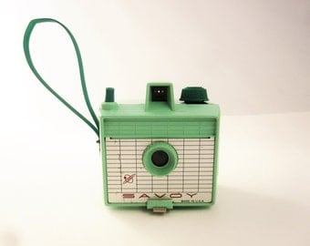 A Mint Green 'Savoy' 120 Camera - Great Lettering - Great Color - Fun and Clean - Ready to Use - Simple Operation - Fun Foto History - 1950s
