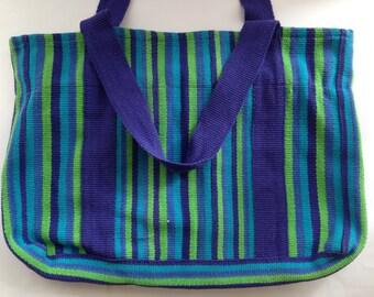 Vintage cotton Indian handmade bag Woven Striped ethnic bag blue green Hippie Boho woven bag Beach bag