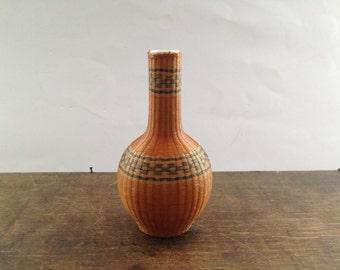 Vintage braided vase Small brown wicker vase Brown braided vase Miniature bud vase Tiny flower vase Rustic home decor