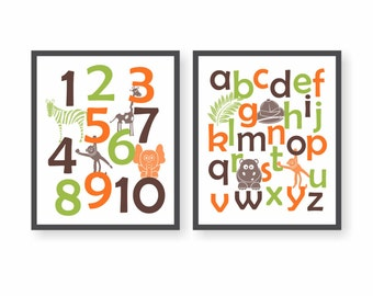 Safari Numbers Nursery Art - CHOOSE COLORS - Baby Zoo Animals, Jungle Nursery, Safari Alphabet Art, Baby Shower Gift, Playroom wall Art
