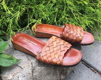Vintage Woven Leather Slip On Sandals