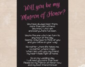 Will You Be My Matron of Honor? Poem - Instant Download - Matron of Honor Card