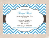 Cottage Chic Chevron Baby Shower Invitations - Brown and Blue Cottage Chic Woodland Printable Invitations
