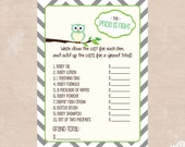 The Price is Right Owl Baby Shower Printable Game - Personalized Owl Baby Shower Printable