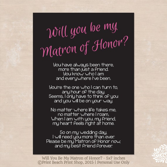 will you be my matron of honor poem instant by palmbeachprints