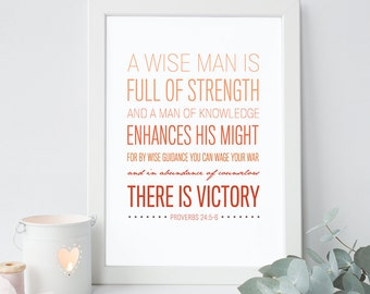 Proverbs 24:5-6 - Bible Verse Art - Scripture Print - Bible Verse Typography - Psalm Art - Bible Verse for Men