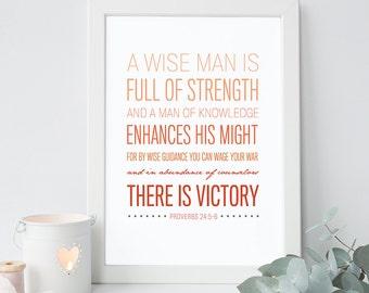 Proverbs 24:5-6 - Bible Verse Art - Scripture Print - Bible Verse Typography - Psalm Art - Bible Verse for Men