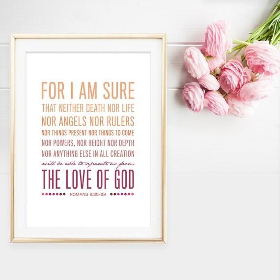 Bible Verse Art Romans 8:38-39 Scripture by ThePaperMountainCo