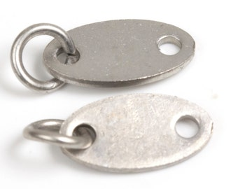 Stamping Blank Jewelry Tag, Antique Silver Oval Blank Disc Tags Sequins, 13x7mm, 19 Gauge, Pkg of 100 PCS, F0VJ.AS11.P100