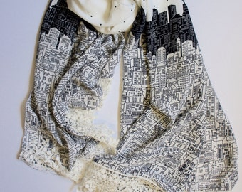 Nighttime City Scarf with Lace Trim