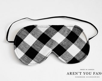 Eye Mask, Sleep Mask, Travel Mask, Handmade Cotton Black and White Check/Lumberjack Pattern Mask by Aren't You Fancy!
