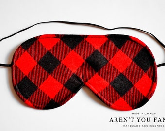 Eye Mask, Sleep Mask, Travel Mask, Handmade Cotton Red and Black Buffalo Plaid/Check/Lumberjack Pattern Mask by Aren't You Fancy