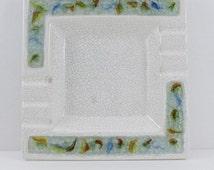 "Vintage Crackle Art Glass Ashtray Pottery Jacquin California Trinket Square 10"""