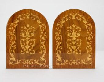 Vintage Italian Bookends Marquetry Wood Inlay Sorrento Italy Flourish Birds