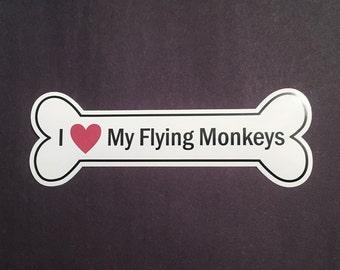 I Heart My Flying Monkeys Bumper Sticker - White, Bone-Shaped (I Love My Flying Monkeys)