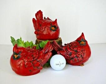 3 Red Cardinals - Concrete Bird Figurines/Garden Statues - Christmas Decor or Gift